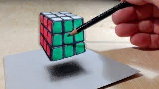Floating Rubik's Cube, 3D Trick Art on Paper