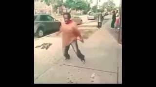 Homeless black man dancing to dank music vine