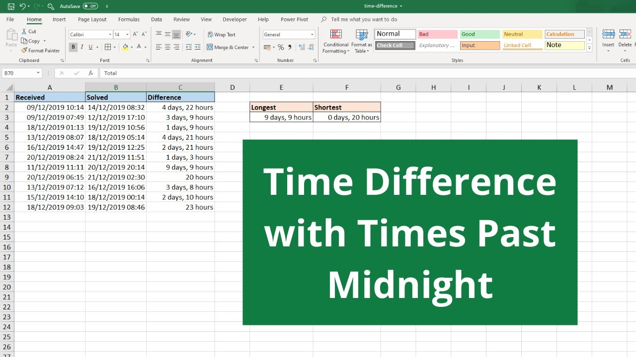 Calculating Time Differences in Excel