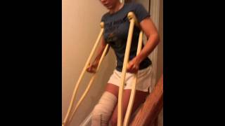 Testing out the stairs/crutches