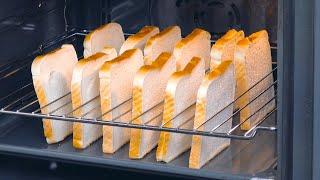 Coloque 12 fatias de pão no forno para fazer sanduíches incríveis