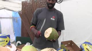 How to open fresh green coconut with style