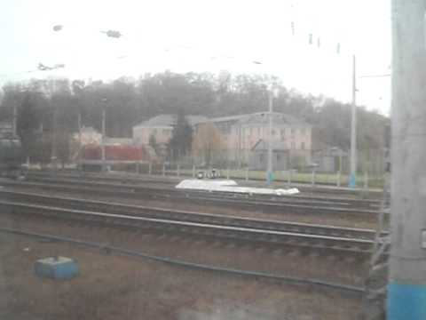 Train pulling into Kiev, Ukraine