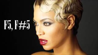 Beyoncé hits F5 and F#5 Background Vocals Crazy in Love Remix