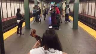 Cello vs Violin battle in NYC Subway