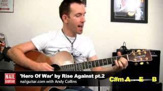 'Hero Of War' Rise Against Guitar Lesson pt.2 ★ Song Tutorial
