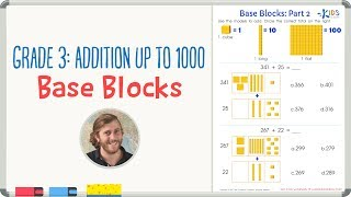 Grade 3: Addition up to 1000 - Base Blocks Worksheet
