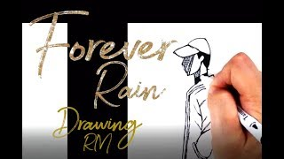 BTS RM forever rain fanart, RM mixtape forever rain drawing, BTS RM fanart