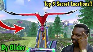 Top 5 Secret Locations By Glider🔥😱|Free fire Battleground!!