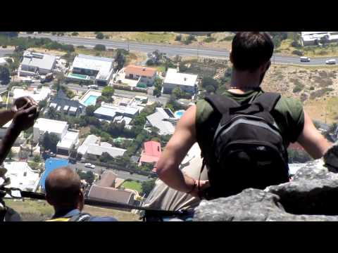 February 3, 2010. Table Mountain, Cape Town, South Africa: Abseiling (Rappelling) Team.