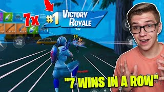 I WON 7 Games of Fortnite Mobile IN A ROW! (very very hard)