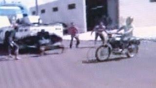Momento em que motociclista morre degolado por cabo de aço esticado