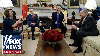 Trump, Pelosi, Schumer spar on border wall in Oval Office width=