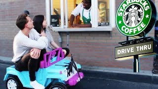 DRIVING THRU STARBUCKS IN A TOY CAR w ANDREW LOWE! ~episode 3~