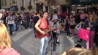 Drunk tramp starts on singer in Cardiff high street