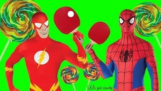 Spiderman and The Flash Play Ping Pong and Find HUGE LOLLIPOP!!!