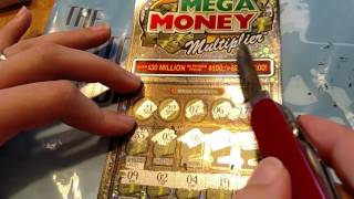 This Mega Money Multiplier Scratch Off Lottery Ticket Owed Us - So We Cut It Until It Payed - Boom.