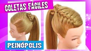 peinados faciles y rapidos y bonitos para pelo chino con coletas con trenzas