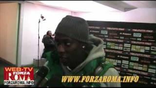 Stefano Okaka al termine di Roma-Catania 1-0 Coppa Italia del 26/01/2010