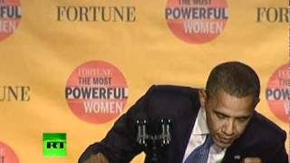 'You know who I am': Obama's presidential seal falls off podium during speech