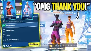 I GIFTED My BIGGEST FAN The Valentines Skins For WINNING in Fortnite Duos!