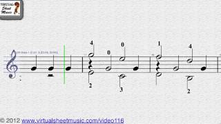 Fernando Sor's, 24 Easy Studies Op. 35, Study No. 1 Guitar Solo sheet music - Video Score