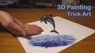 Dolphin fish painting in 3D / Trick Art Illusion