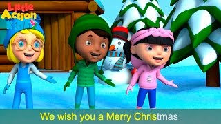 We Wish You a Merry Christmas with Actions and Lyrics | Children's Xmas Song | Little Action Kids