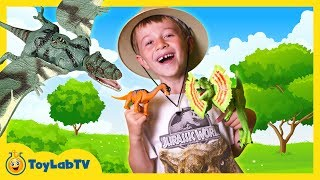 Real Life Dinosaur Toy Hunt with Jurassic World & Animal Planet Dino Surprise Toy Opening Kids Video