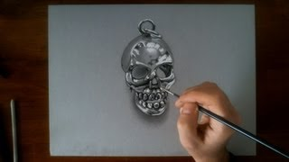 Crazy Speed Drawing: Metal Skull - 3D illusion