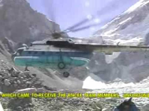 Helicopter crash at Everest base camp.