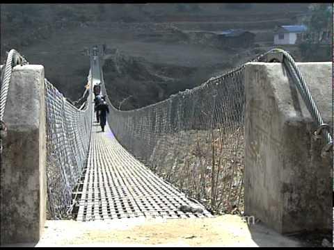 Steel rope bridge en route Everest Base Camp