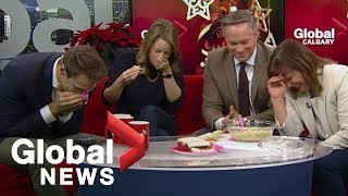 Holiday artichoke dip goes terribly wrong on-air width=