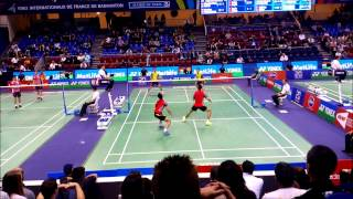 Biao Chai and Wei Hong power smash at French badminton open 2014