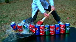 Sword Cutting in Half 15 Sodas in Slow Motion - Slow Mo Lab
