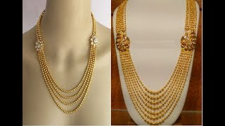 Exclusive Gold Chandraharam Necklace Collections || Fancy long haram designs