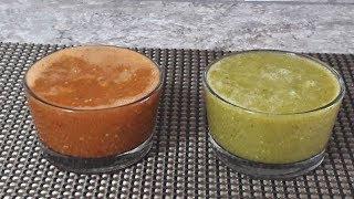 salsas verde y roja para los tacos de lengua
