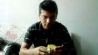 Rubik's cube in 1 min 35 sec from Nepal photograph by Suraj and solved by Asis