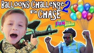 CHASE & PAPA CANDY BALLOON GUN CHALLENGE w/ OFFICE BUFF!!