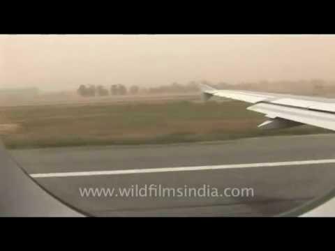 Plane on runway… Delhi to Kathmandu