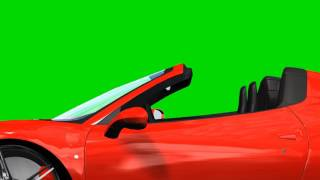Red convertible  sports car drive animation - green screen