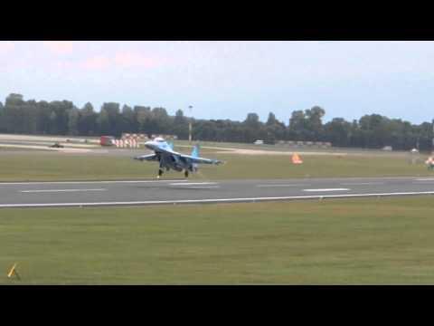 Ukraine Air Force SU-27 Flanker departs RIAT 2011 on 7/18/2011