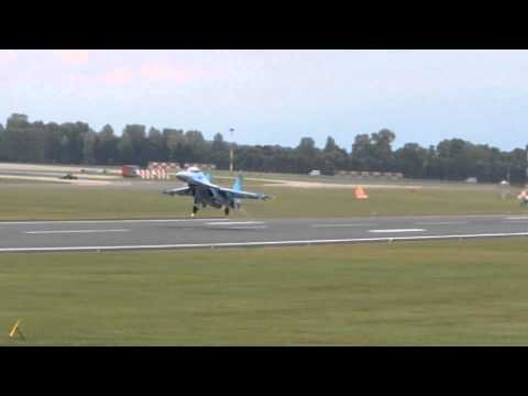 Ukraine Air Force SU-27 Flanker departs RIAT 2011 on 7/18/2011