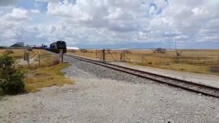 Botswana Railways' soda ash train leaving Botswana Ash Mine at Sowa