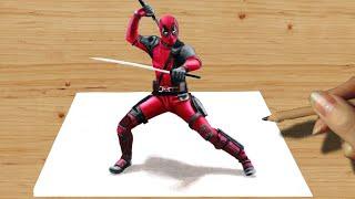 3D Colored Pencil Drawing: Deadpool - Speed Draw | Jasmina Susak