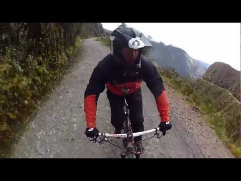"Mountain Biking the ""Road of Death"" (Includes Crash footage) Worlds first 360 Gopro"