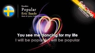 Eric Saade 'Popular' Sweden   ESC 2011   onscreen lyrics Winner of the eurovision songcontest ??