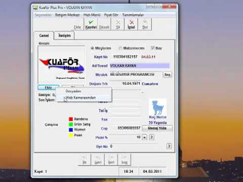 Kuaför Plus - Kuaför Programı - Müşteri Kart Kayıt Düzenleme ve Resim Ekleme