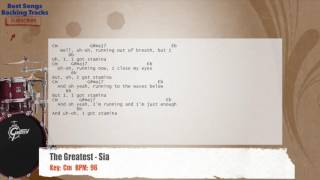 The Greatest - Sia Drums Backing Track with chords and lyrics
