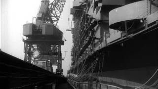 Workers work on USS Midway at Newport News, Virginia. HD Stock Footage